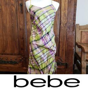 Bebe silk plaid dress